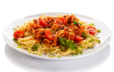 Printed kitchen splashbacks Ready meals Pasta with meat, tomato sauce, parmesan and vegetables