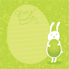 Cute vector background. Easter bunny hold ornate easter egg.