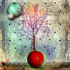 Wall Murals Imagination The magic tree in the wasteland