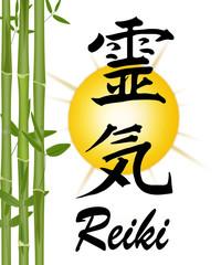 Reiki-Symbol mit Bambus und Sonne