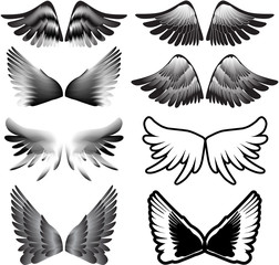 wings tattoo silhouette vector