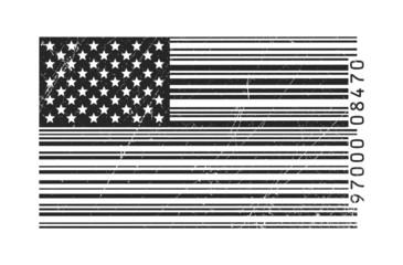Drapeau Américain en code-barres