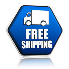 free shipping and truck sign in blue button