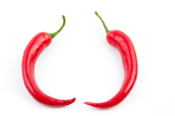 Wall Mural - two chilies facing