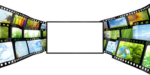 Filmstrip with blank TV