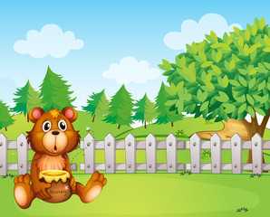 Wall Murals Bears A bear inside the fence holding a pot of honey