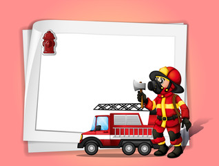 A fireman holding an ax beside his fire truck with a white blank