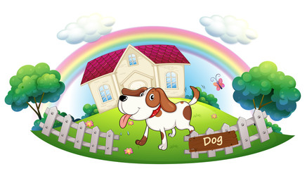 Garden Poster Dogs A dog guarding a house