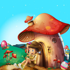 Aluminium Prints Magic world A boy at his mushroom house