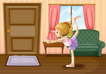 A ballet dancer inside her house