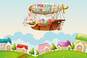 An airship above the hills with an easter greeting