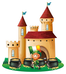 A man with the flag of Ireland in front of a castle