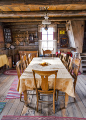 Dinning room table and chairs in a log cabin