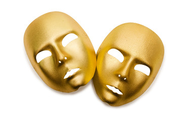 Shiny masks isolated on white background