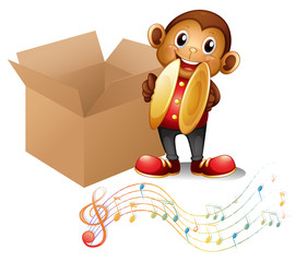A monkey with cymbals beside a box with musical notes