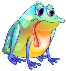 A colorful sad frog