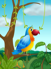 A colorful parrot at the branch of a tree