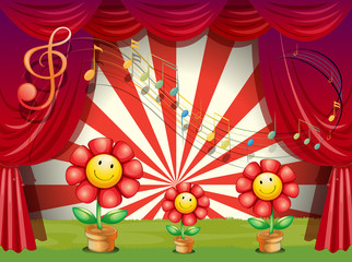 The colorful flowers with musical notes at the stage