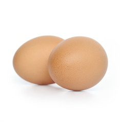 Two brown hen's eggs