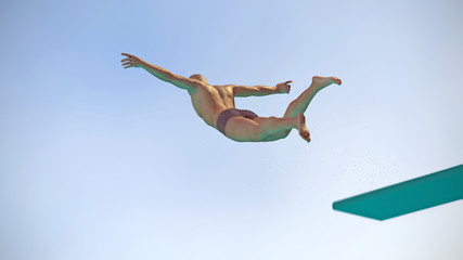 Turmspringer springt vom Brett ab 3D