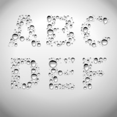 Realistic Water Drops Font from A to F