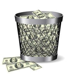 Paper bin with bills.