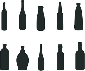 silhouette of various bottles