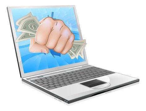 Cash Fist Laptop Concept