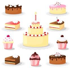 Sweet cake and cupcake set, icons