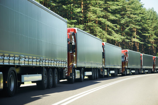 Lorry trucks in traffic jam
