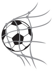 vector football (soccer) ball in net