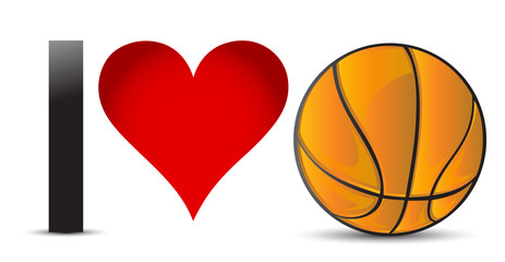 I love Basketball, Heart with Basketball Ball
