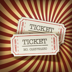 Fototapeten Weinlese-Plakat Cinema tickets on retro rays background, vector.