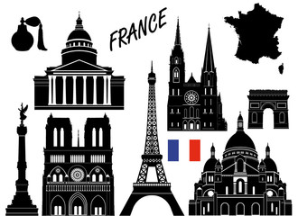 In de dag Doodle France 10 piece isolated