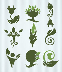 vector ecology collection bio, organic and nature symbols
