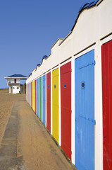 Multi Color beach huts in the Vendée in France