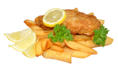 Fish And Chips With Lemon