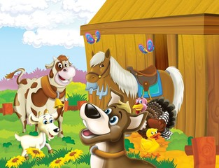 Spoed Fotobehang Boerderij The life on the farm - illustration for the children