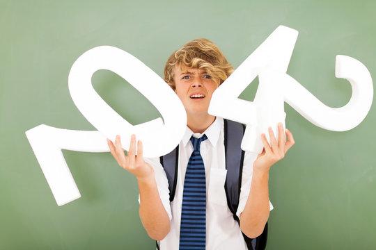 high school boy struggling with mathematics