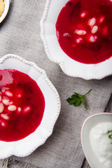 Traditional red borscht with vegetables