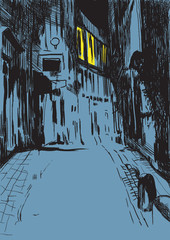 mystical city street at night - drawing into vector