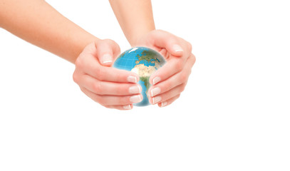 Hands holding the world. Global care concept.