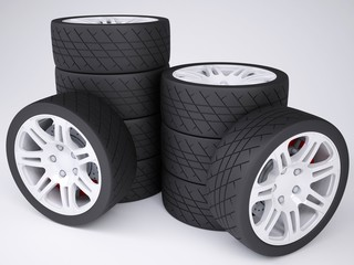 A stack of wheels with discs