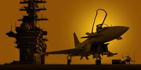 jagdjet auf flugzeugträger im sonnenuntergang
