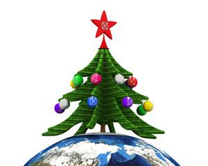 Новогодняя елка на земном шаре