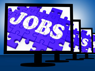 Jobs On Monitors Showing Careers