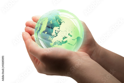 Wall mural world in hands
