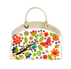 Transparent white leather handbag with colorful leather flowers