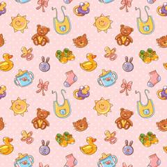 Printed kitchen splashbacks Cats Baby toys cute cartoon set seamless pattern