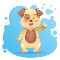 Cute cartoon dog toy vector card
